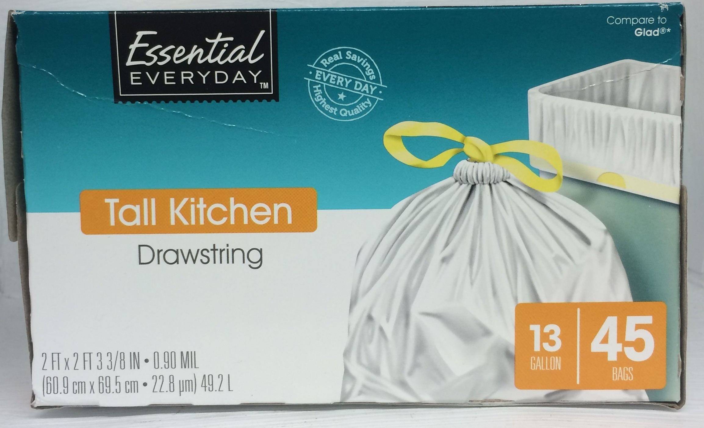 Essential Everyday Tall Kitchen Bags - Drawstring - 13 GAL / 40 CT ...