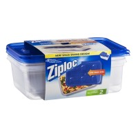 Ziploc Containers - One Press Seal - Large Rectangle - 2 CT
