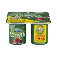 Dannon Activia Lowfat Yogurt - Mixed Berry - 4 CT