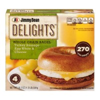 Jimmy Dean Delights Whole Grain Bagel Turkey Sausage Egg White And Cheese Sandwiches - 4 CT / 19.2 OZ