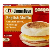Jimmy Dean English Muffin Sandwiches Canadian Bacon, Whole Egg And Cheese - 4 CT / 17.6 OZ