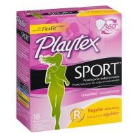 Playtex Plastic Tampons Sport Unscented Regular - 18 CT