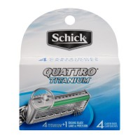 Schick Quattro Titanium Razor Cartridges and Edging Blade - 4 CT