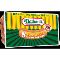 Nathan's Famous Bun-Length Skinless Beef Franks 8pk