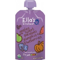 Ella's Kitchen Organic Baby Food - Stage 2 - Sweet Potatoes, Pumpkin, Apples + Blueberries 3.5 OZ