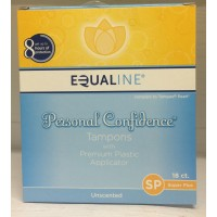 Equaline Personal Confidence Unscented Tampons w/Plastic Applicator - Super Plus 18 CT