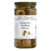 Jeff's Naturals (Green) Jalapeno Stuffed Olives 7.5 OZ