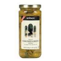 Krinos Imported (Green) Cracked Olives - 16.0 OZ